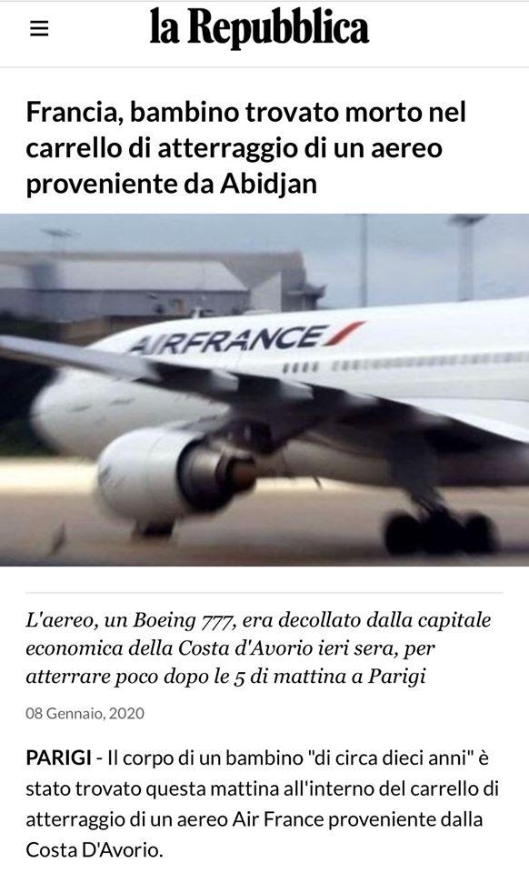 bambino morto, francia, aereo